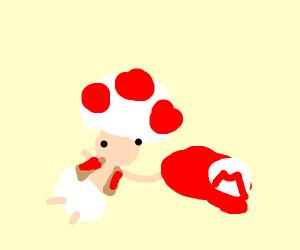 Mushroom person holding Mario cap in a swamp