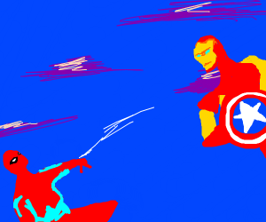iron man/captin america fighting spider dude