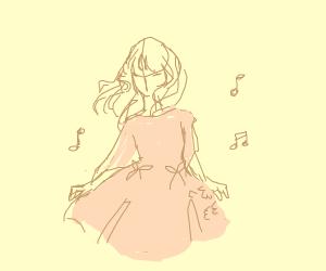 Girl in pink dress dancing