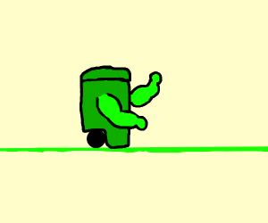Muscular trash can on green tightrope