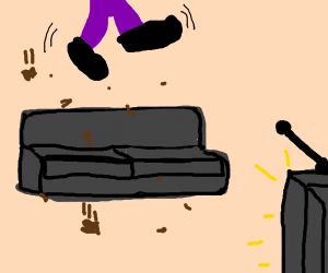 Purple Man escapes the living room