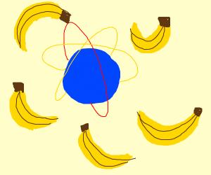 bananas surrounding a model of an atom