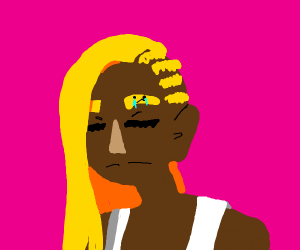 A blonde black person eyebrows crying purple