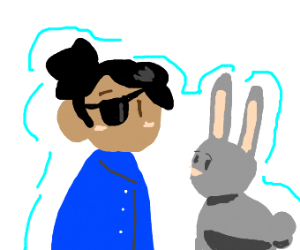 a girl with an eye patch and no arms + bunny