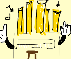 Pipe Organ wearing Gloves