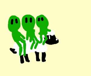 Five green men riding a sheep