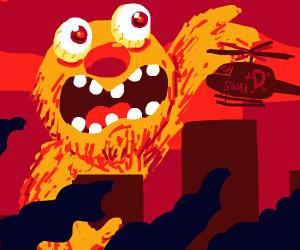 Yellmo destroys a city
