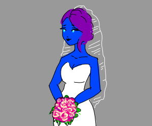 A blue lady getting married