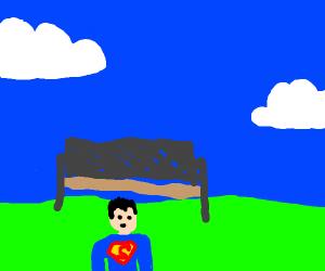 really buff mini Superman under a park bench