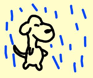 Snoopy in the rain