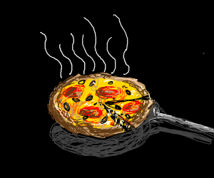 A pepperoni and olive pizza