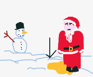 Santa creates yellow Snow