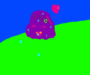 Purple blob eats cyan lolipop in stars mouth