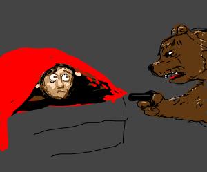 Bear threatens man under covers