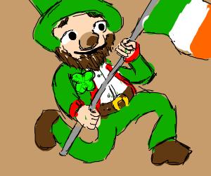 Leprechaun carrying Irish flag