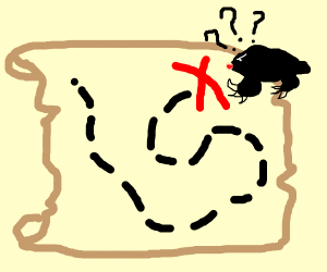 Angry mole searching for treasure on a map