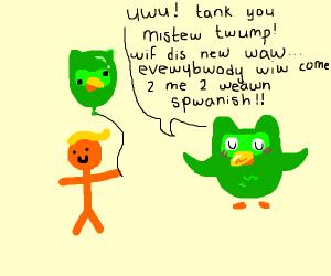 Trump winning Balloons from the Duolingo Owl