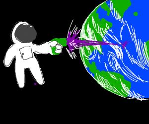 Austronaut shoots purple laser at earth