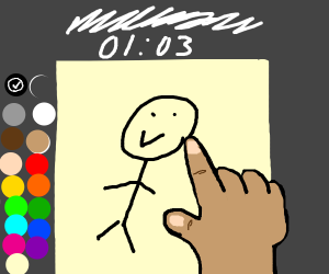 person paints a picture