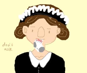 Maid eating Socks
