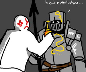 angry man drawing on a knight with mustard