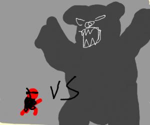 Red ninja fights shadow bear