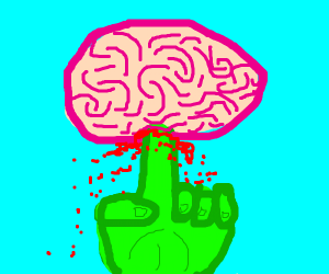 green finger pokes brain