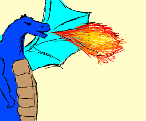 blue dragon breathes fire