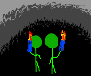2 persons with blue torches