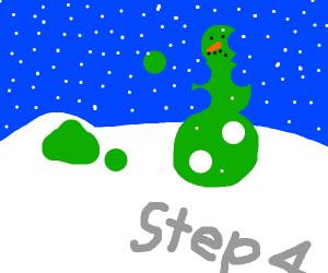 Step 4, destroy green snowman