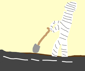 Mummy digging into the Road