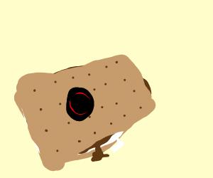 Graham cracker sandwich with a hat
