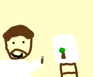 Bob Ross drawing some happy trees