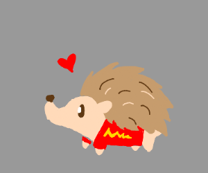 Cute hedgehog w/ red suit w/ lightning bolt