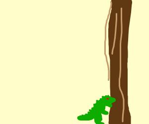a baby godzilla humping a giant tree