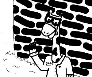 Crying eye graffiti on a brick wall