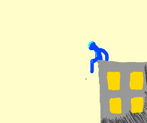 a blue man sitting on gray building