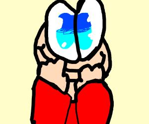 cute boy with huge blue eyes