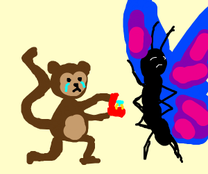 Monkey proposing to butterfly, but she saysNO