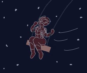 Spiderman swinging in the night sky