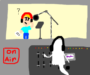 Blonde guy in a posessed recording studio