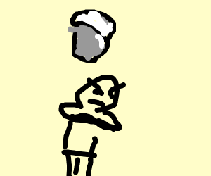 Angry guy under milk bucket