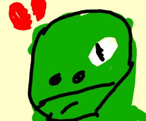 sad dragon with a broken heart