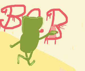 frog with top hat and scarf graffitieng BRB