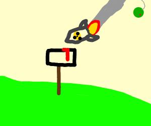 Green Jupiter opens fire on a mailbox