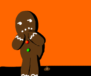gingerbread man does a whoopsie