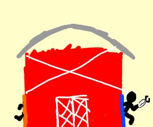 a barn with portals
