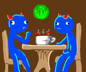 Two blue creatures share a hot drink.
