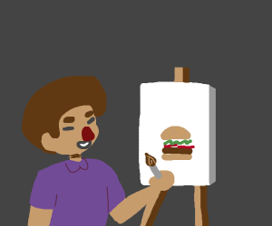 Bob Ross painting a Hamburger