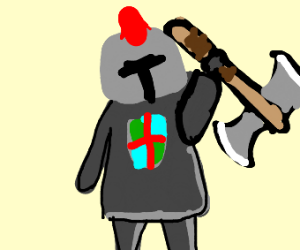 Knight with red mohawk and battle axe